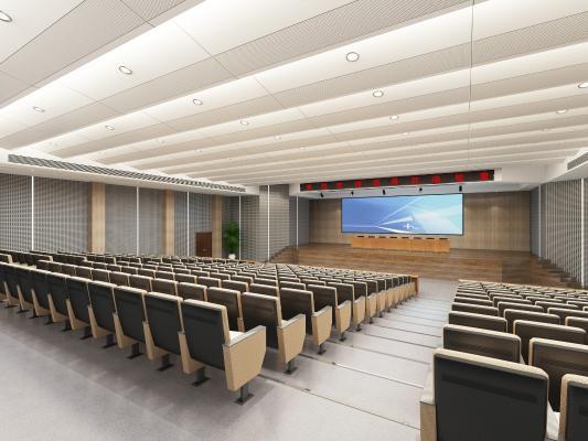 现代会议室 报告厅 投影仪 椅子