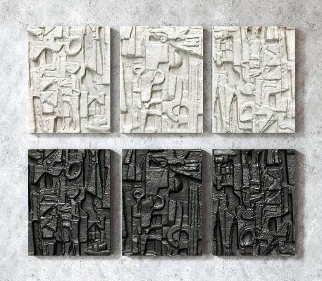 侘寂岩石浮雕墙饰墙绘 立体浮雕墙饰 挂件壁饰