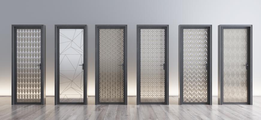 现代夹丝玻璃门组合
