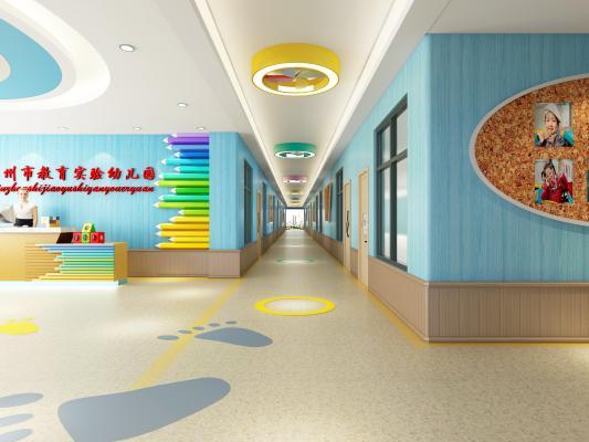 现代风格幼儿园走廊