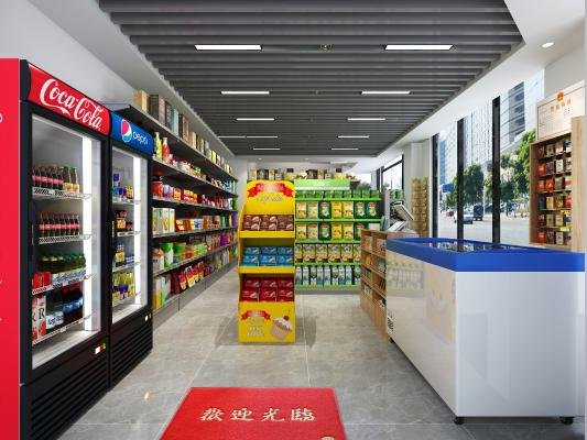 现代超市便利店 收银台 货柜