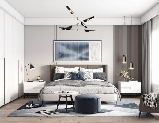 北欧卧室 双人床 床头柜
