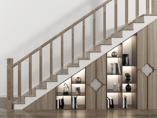 新中式楼梯 储物柜