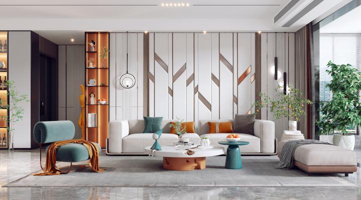 现代客餐厅 组合沙发 茶几 餐桌椅
