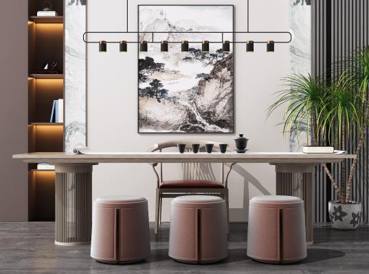新中式休闲茶桌椅组合 书法桌 写字桌