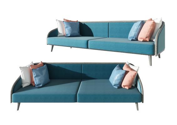 現代布藝雙人沙發,創意沙發組合,家裝客餐廳沙發3d