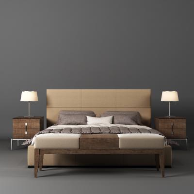 现代床 床头柜 床尾凳