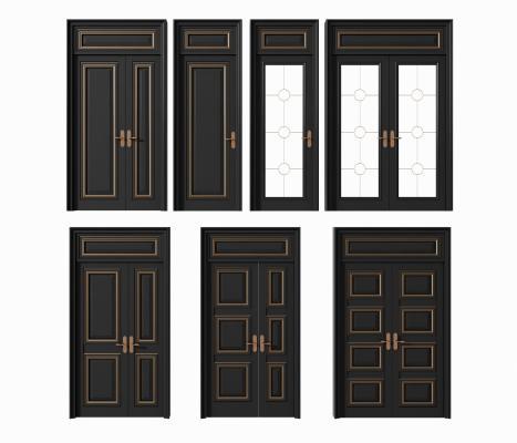 现代简欧门子母门双扇门玻璃门组合
