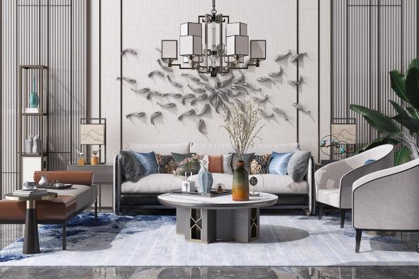 新中式沙发 茶几 花瓶组合 休闲单人椅 吊灯