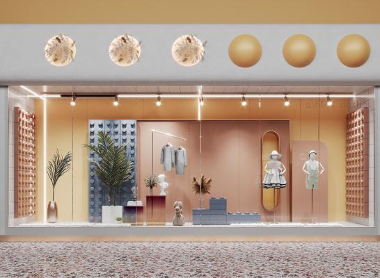 现代服装店橱窗 门面 乐高积木墙 美陈 模特 绿植花艺 摆件
