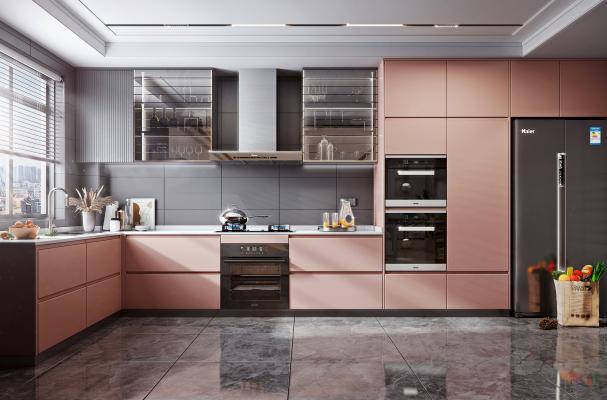 现代风格厨房 橱柜 油烟机 灶具 烤箱