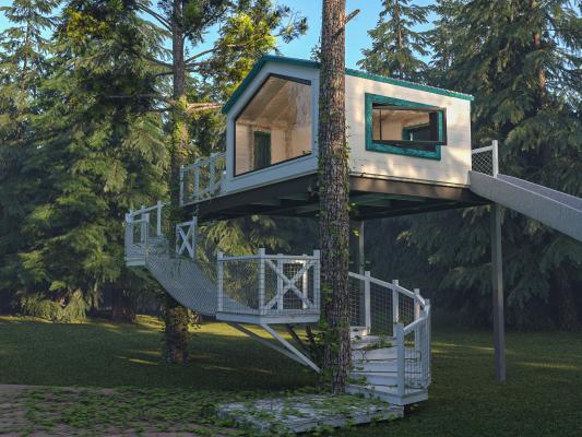 现代树屋 松树 树林