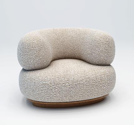 现代绒布单人异形沙发