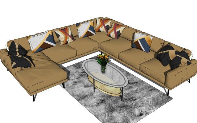 现代多人沙发茶几组合