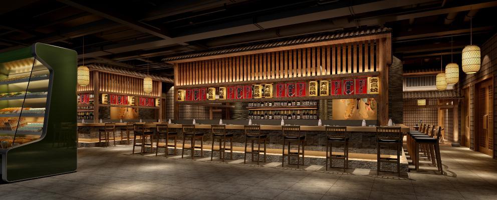 日式寿司餐饮店 寿司餐厅 吧椅