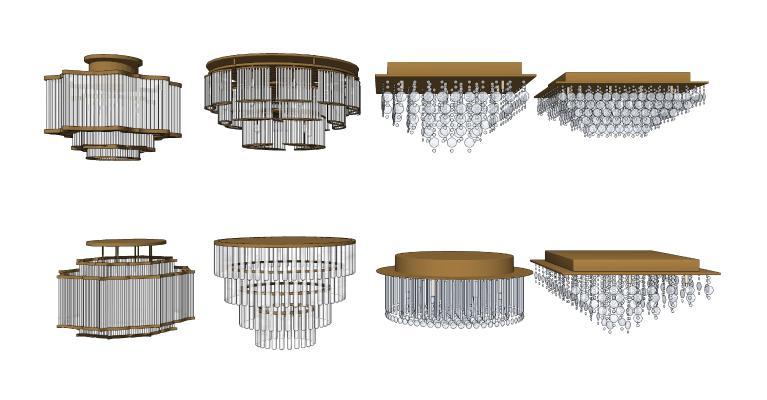 新中式吸顶灯组合 水晶灯