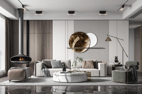 現代客廳 沙發茶几组合