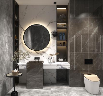 现代卫生间 浴室柜 坐便器