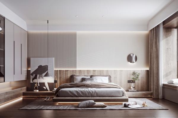 現代簡約臥室 雙人床 衣柜