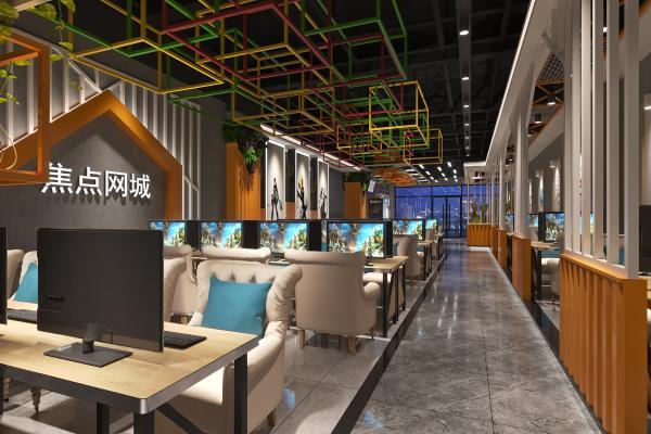 现代网咖 食品柜 绿植墙