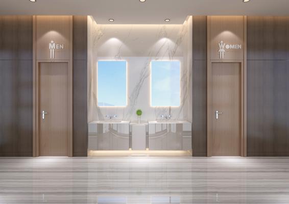 现代公共卫生间 浴柜 木纹地砖