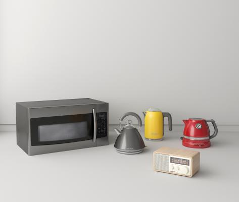 北欧厨房 微波炉 彩色热水壶