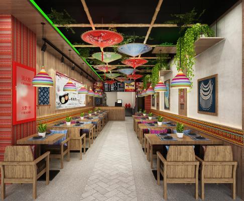 新中式快餐厅 吊灯 挂画
