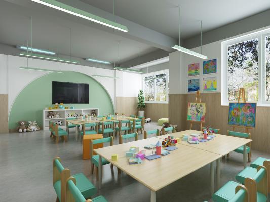 现代幼儿园 教室 吊灯 挂画