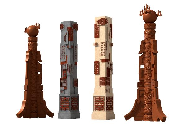 新中式柱子 石柱 雕塑
