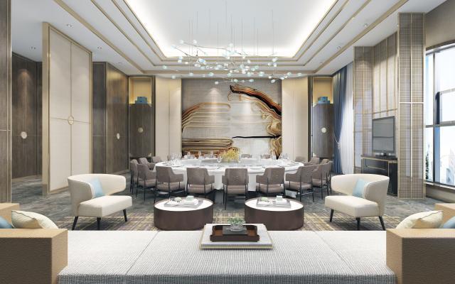新中式风格餐厅包厢 餐桌椅 沙发茶几
