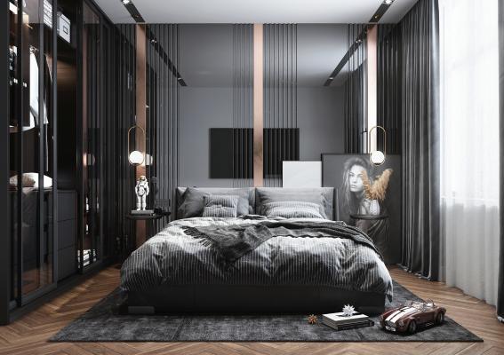 现代风格卧室 衣柜 床