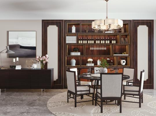 新中式餐桌椅 酒柜组合 圆形餐桌 餐椅