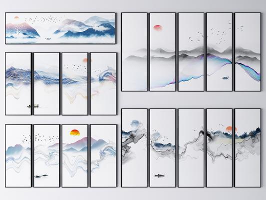 新中式水墨山水风景挂画 水墨挂画 山水画