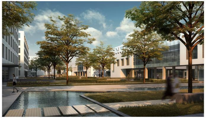 現代城市工业园区厂房 辦公楼 建筑外观