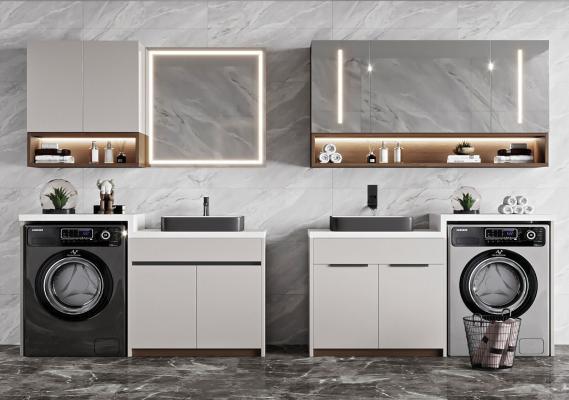 现代浴室柜 洗衣机组合