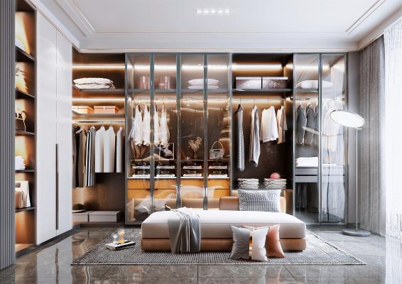 现代风格开放式衣帽间 衣柜 服饰