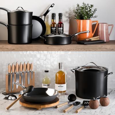 现代厨房器具 不锈钢炒锅 平底锅 刀具