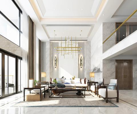 新中式别墅客厅 吊灯 壁画