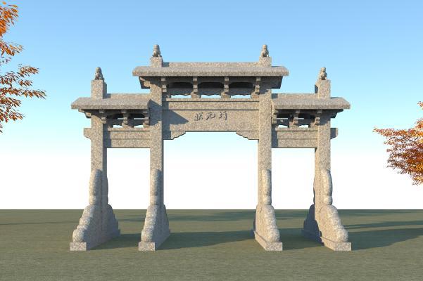 中式古建石雕牌坊