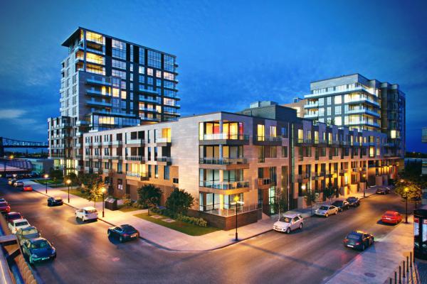 现代住宅区建筑夜景
