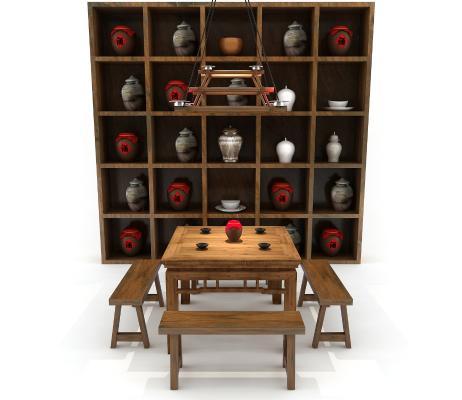 中式也有一层金色��木八仙桌 �l凳 酒��