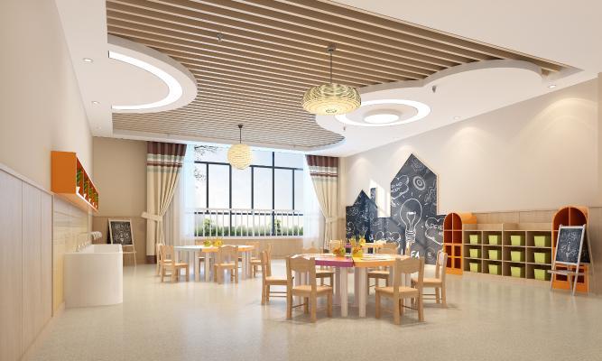 现代幼儿园美工室 涂鸦墙 艺术吊灯