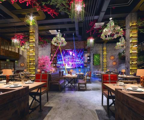 工业风音乐餐厅 餐饮 植物 餐桌