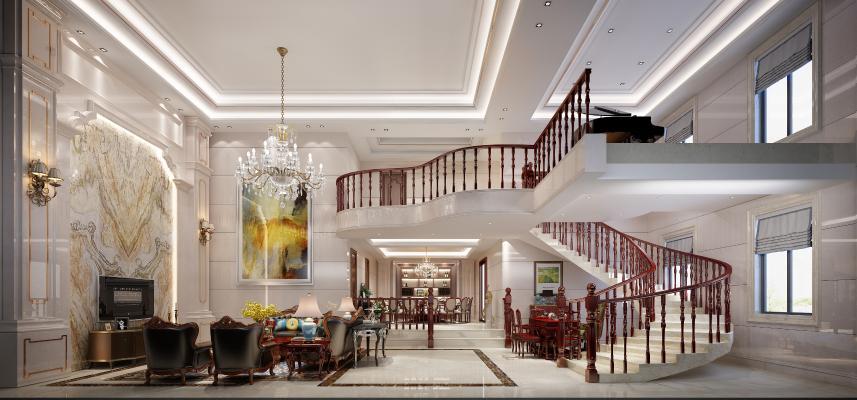 欧式中空别墅客厅 餐厅 楼梯间