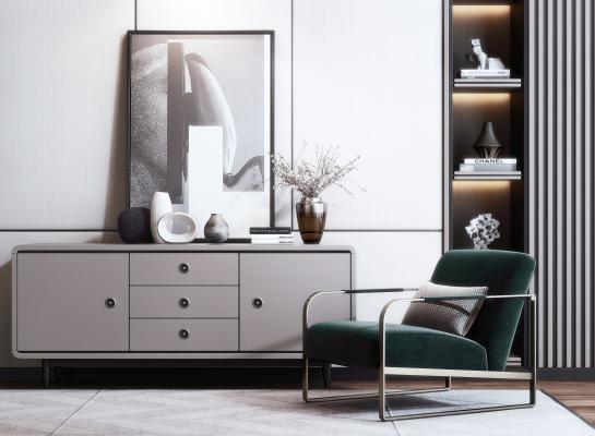 现代装饰柜 单椅 休闲椅