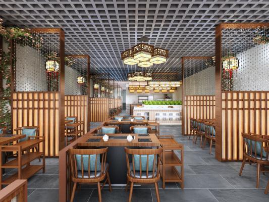 中式火锅店 厨房 餐桌