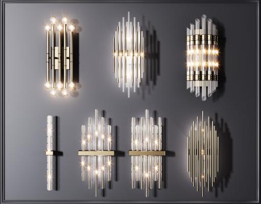 現代輕奢水晶壁燈組合 金屬壁燈 水晶壁燈