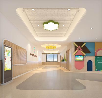 现代幼儿园入口门厅 洞洞板 造型墙面