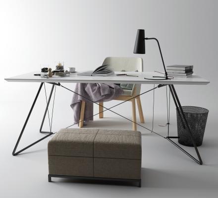 现代书桌椅 纸篓