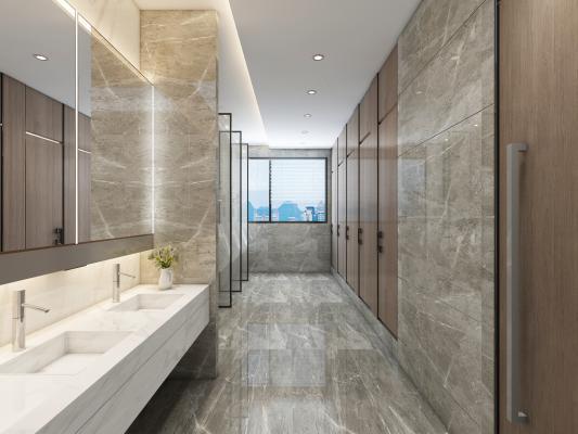 现代公卫生间 洗手台 小便斗